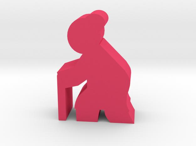 Old Lady meeple, walking in Pink Processed Versatile Plastic