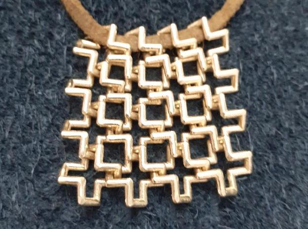 Hashtags Chainmail Pendant in Natural Brass