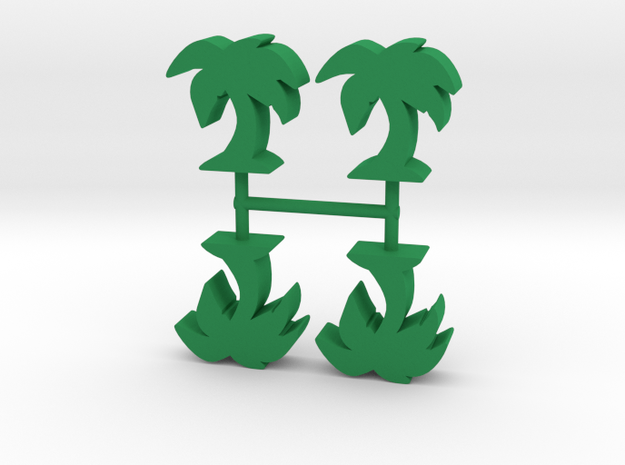 Palm Tree meeple v1, 4-set in Green Processed Versatile Plastic