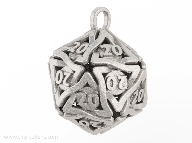 D20 Keychain 'Twined' - All 20's version in Polished Bronzed-Silver Steel