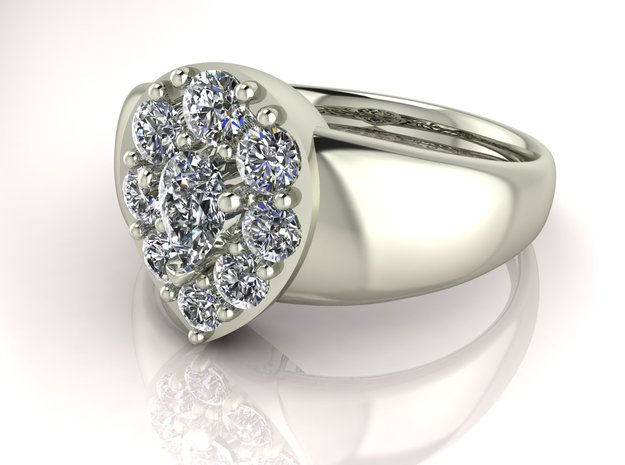 Pear-shaped halo 2 engagement ring, NO STONES SUPP in Fine Detail Polished Silver