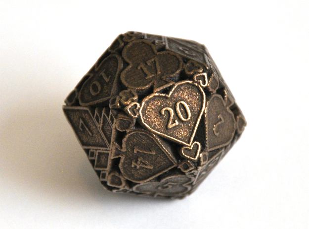 D20 Balanced - Cards (Metal) in Polished Bronze Steel