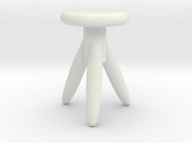 Miniature 1:12 Chair in White Natural Versatile Plastic: 1:12