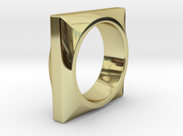 Square to Round Ring in 18k Gold Plated Brass: 8 / 56.75
