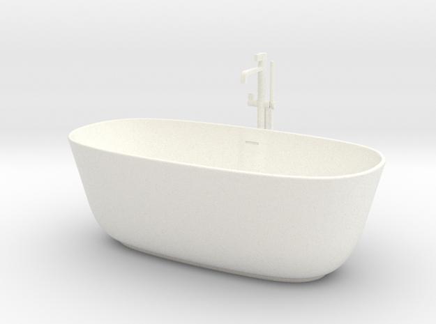 Bathtub with tap 1:24 in White Processed Versatile Plastic