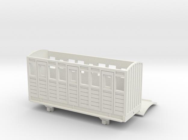 OO9 Talyllyn / Skarloey Railway Coach TYPE 1 in White Natural Versatile Plastic