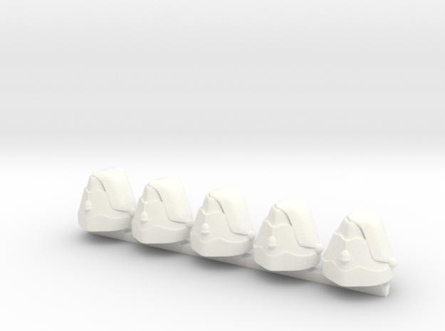 5 x Forage Cap  in White Processed Versatile Plastic