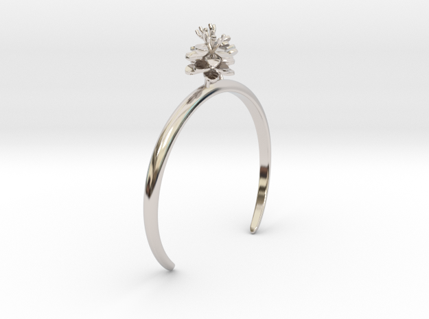 Anemone bracelet with two small flowers L in Rhodium Plated Brass: Medium