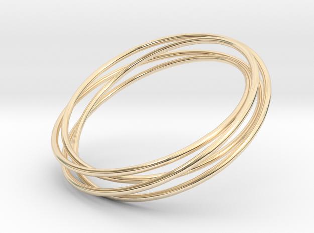 Torus Knot Bracelet_A in 14k Gold Plated Brass: Small