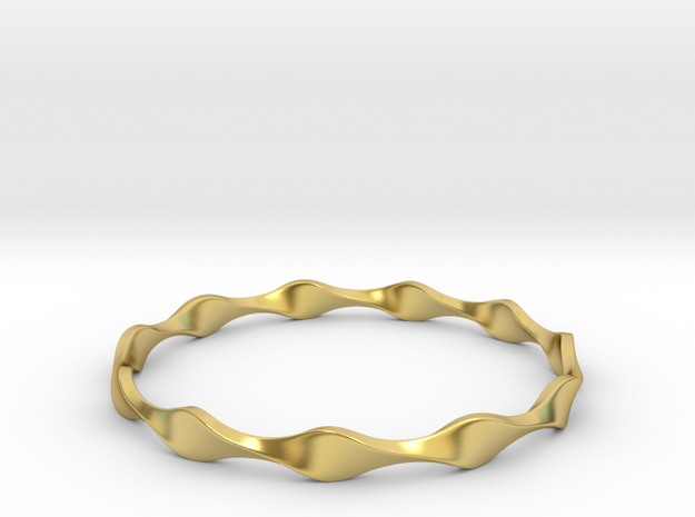 Twisted Wave Bracelet_A in Polished Brass: Small