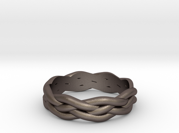 Braided Ring 7 N½ (other sizes available) in Polished Bronzed Silver Steel