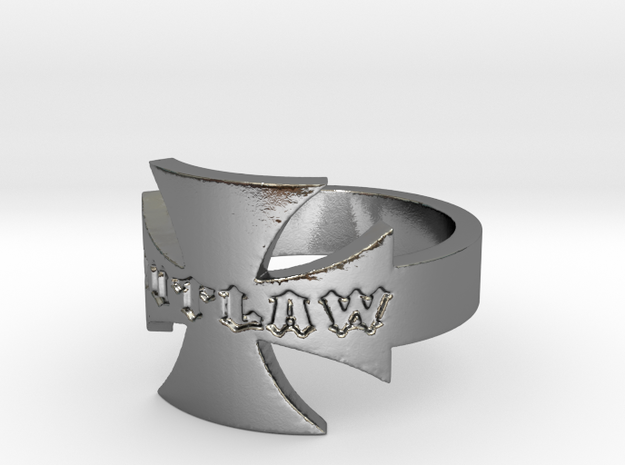 Outlaw Biker Iron Cross Logo Ring Size 12 in Polished Silver