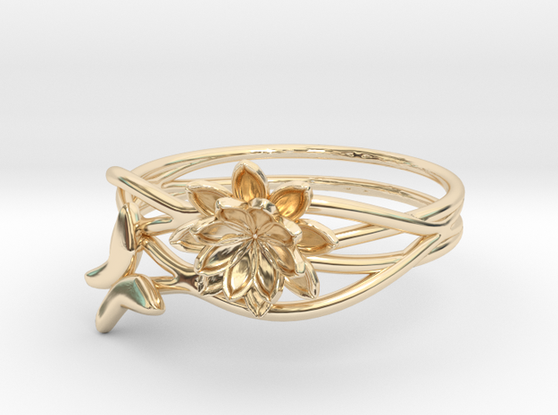 Lotus Butterfly Ring Size 8--18.2mm in 14K Yellow Gold