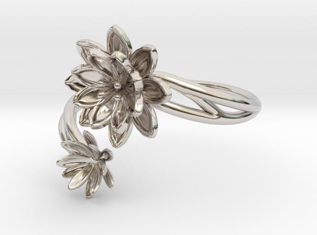 Lotus Lily Pair Ring Size 8--18.2mm in Platinum