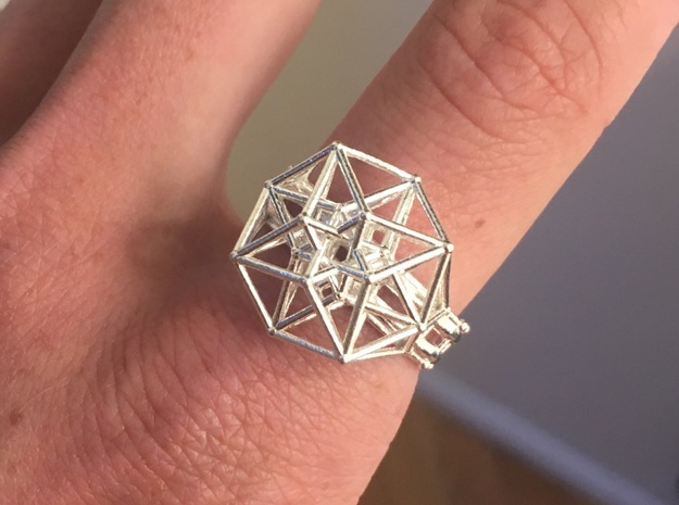 Tesseract Ring size 11.5 in Natural Silver