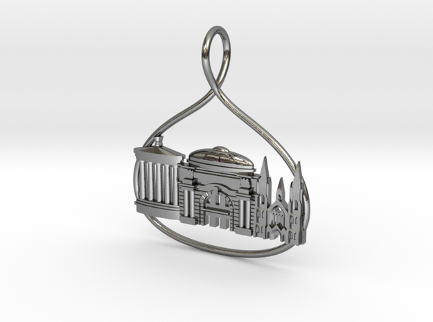Edinburgh Cityscape Skyline Pendant in Polished Silver