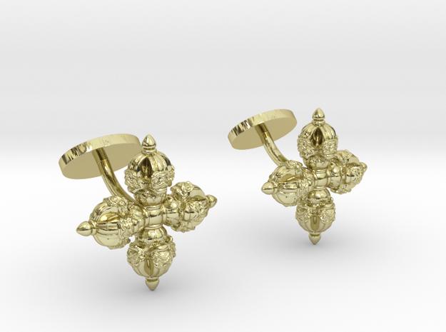 Double Vajra Cufflinks in 18k Gold Plated Brass