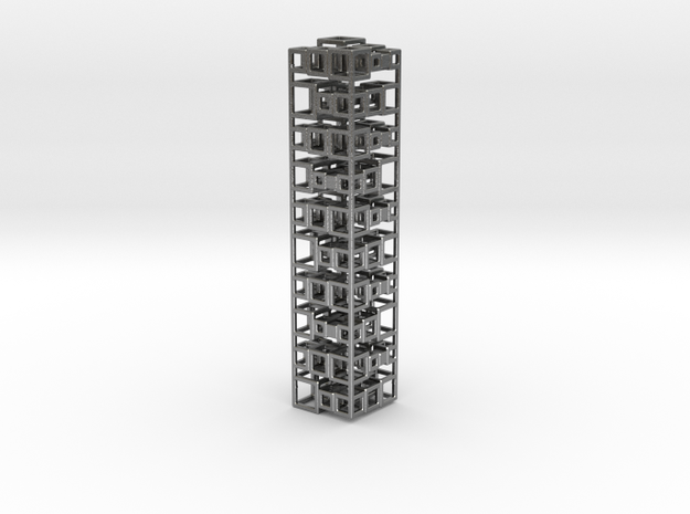 Stack Of 10 Cubes 21 in Natural Silver