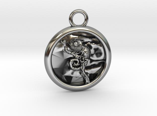 Chamäleon-4-Medaillon in Antique Silver