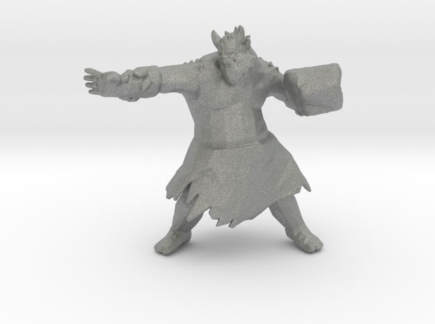 Stone Giant Rock Thrower miniature model fantasy in Gray PA12