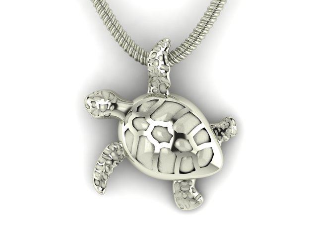Sea turtle pendant in Fine Detail Polished Silver