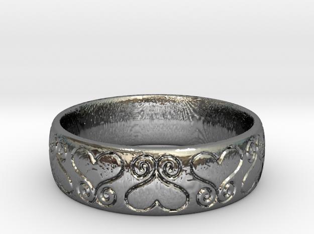 Hearts Ring in Premium Silver