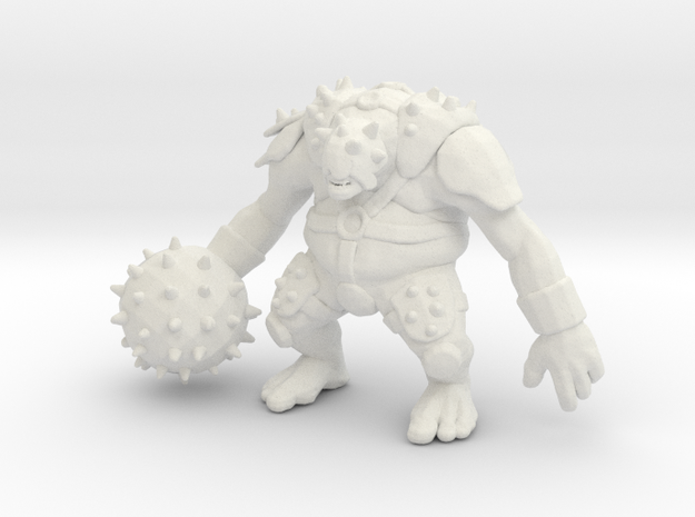 Armored Ogre DnD 1/60 miniature fantasy games rpg in White Natural Versatile Plastic