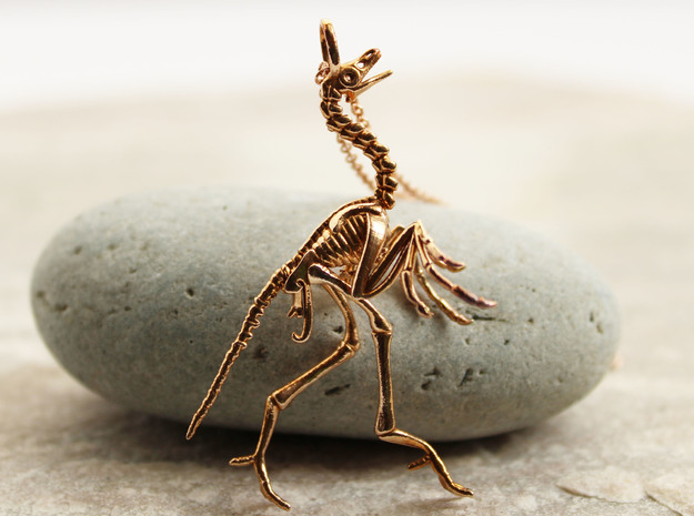 Archaeopteryx Pendant - Paleontology Jewelry in Natural Bronze