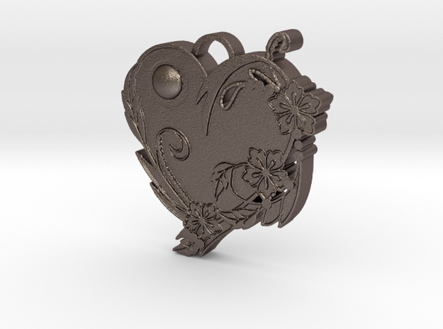 Floral Heart Pendant in Polished Bronzed Silver Steel