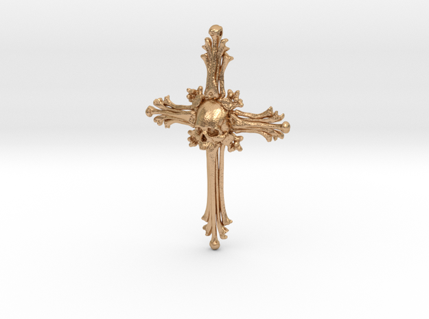 Traditional Cross Bone Pendant in Natural Bronze