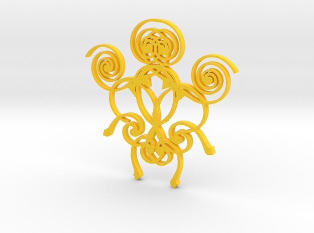 Swirl Pendant in Yellow Processed Versatile Plastic