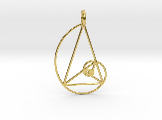 Golden Ratio Triangle Spiral in Polished Brass