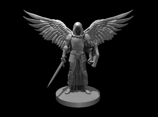Fallen Aasimar Paladin with Sword & Shield