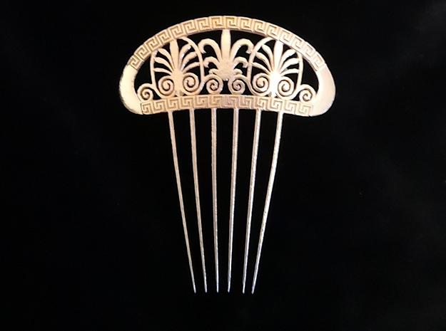 Hair Comb with Greek Motifs 1 in Natural Bronze