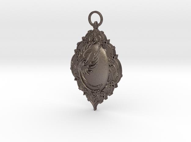 Phoenix Rising Pendant in Polished Bronzed Silver Steel