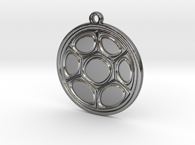 Abstract circle pendant in Fine Detail Polished Silver
