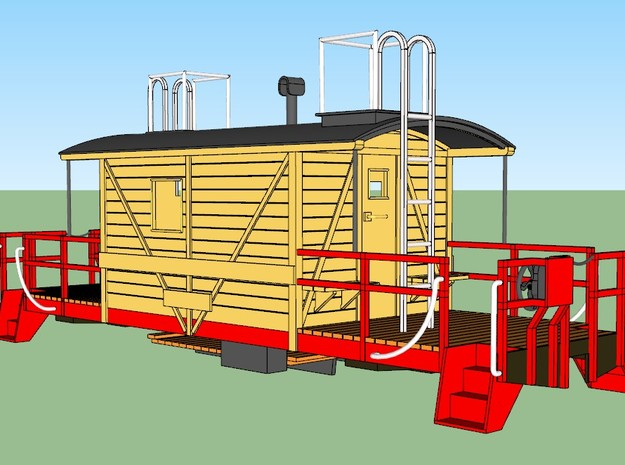 A&S Caboose S Scale rev. 2020 in Smoothest Fine Detail Plastic