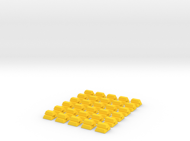 Gold Replacements for Tzolk'in, Set of 30 3d printed Render in Polished Yellow Plastic.