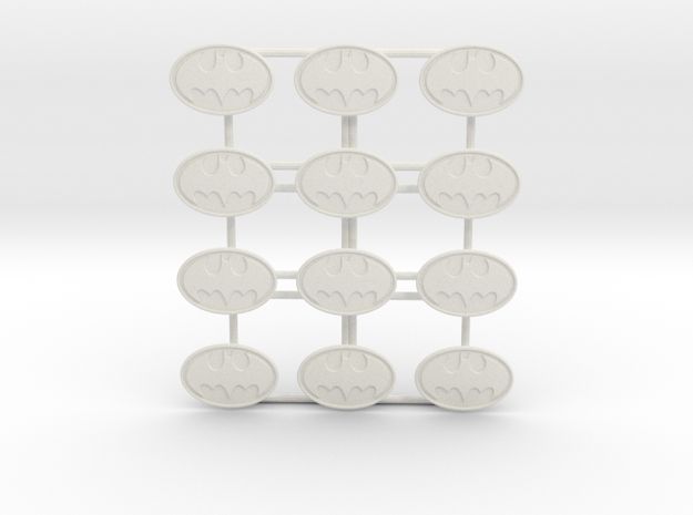 Batman Bat emblems! 1:12 scale in White Natural Versatile Plastic