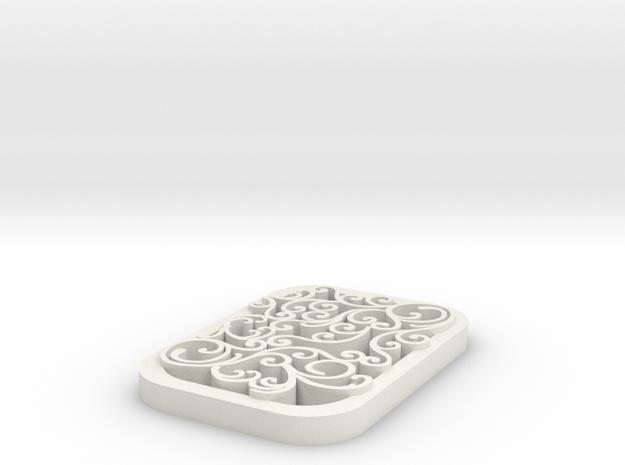 square swirl pendant 1 in White Natural Versatile Plastic
