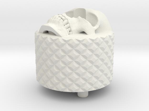 Skull BackCap Long Length Emek/Etha2/MG100  in White Natural Versatile Plastic
