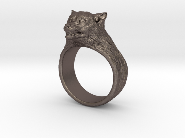 Wolf Ring size 7,5 in Polished Bronzed Silver Steel