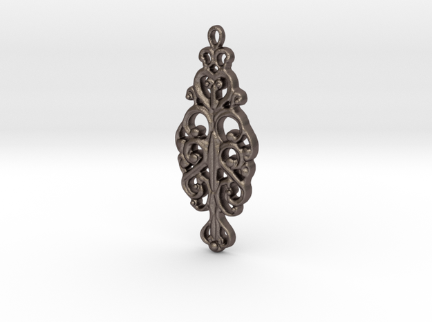 Ornamental Pendant in Polished Bronzed Silver Steel