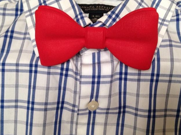 3D Printed Bow Tie in Red Processed Versatile Plastic
