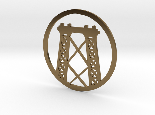 Williamsburg Bridge pendant in Polished Bronze