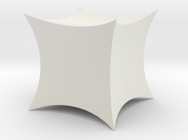 Hyperbolic Cube in White Natural Versatile Plastic