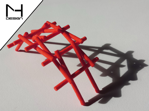 Leonardo Da Vinci's self supporting bridge (Large) in Red Processed Versatile Plastic