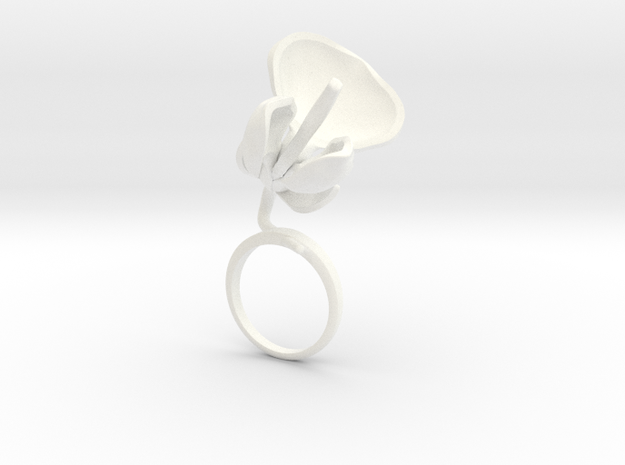 Bean ring with one large flower in White Processed Versatile Plastic: 7.25 / 54.625