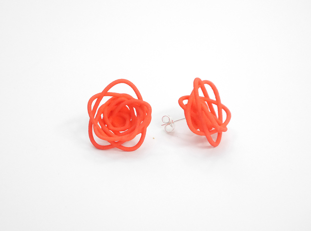 Sprouted Spirals Earrings (Studs) 3d printed Custom Dyed Color (Coral)