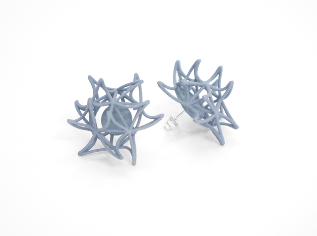 Aster Earrings (Studs) 3d printed Custom Dyed Color (Azurite)